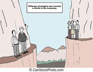 Different Strategies - Cartoon of business people on two...