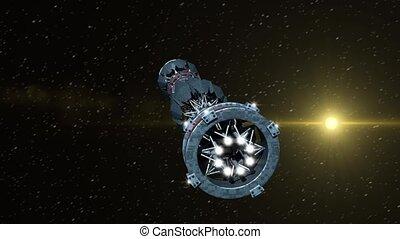 Futuristic Warpdrive Spaceship - Futuristic military...