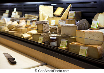 Cheese - Various cheeses in a French creamery