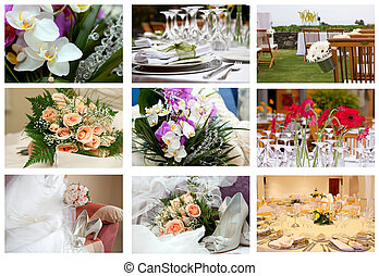 wedding celebration - collage of nine wedding parts of...