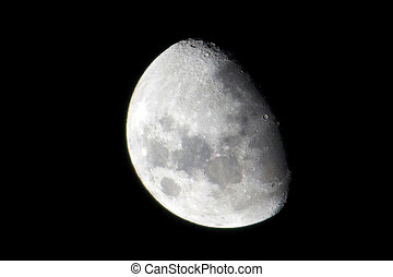 close-up shoot moon isolated background from earth ground