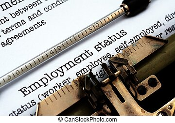 Employment form on typewriter