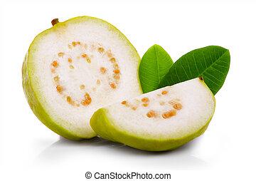 fresco, guayaba, fruta, con, hojas, y, Rebanadas, aislado,...
