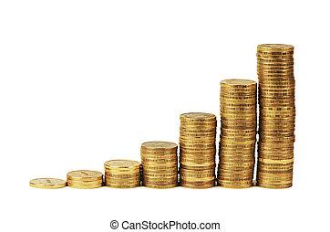 oro, dinero, Pila, aislado, en, white, ,