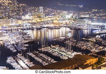 Monte Carlo port, Monaco night scene