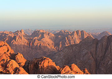 View of the Sinai mountains at dawn in Egypt