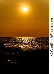 Sunset at the beach on Koh Larn Pattaya.Thailand