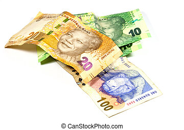 SUL, africano, banco, notas, Featurning, Nelson, Mandela,
