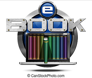 E-Book - Metallic Icon - Round metallic icon or symbol of...