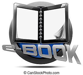 E-Book - Metallic Icon - Round metallic icon or symbol of...