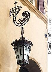 antigüidade, rua, lâmpadas,