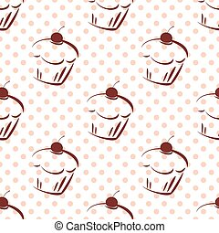 Tile vector cake and dots pattern