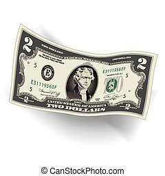 Stylized Drawing of a 2 Dollar Bill - A Detailed, Stylized...
