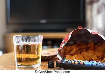 malsano, cráneo, alimento, televisión, Plano de fondo,...