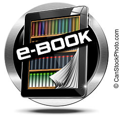 E-Book Symbol with Tablet Computer - Round metallic icon or...