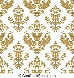 Damask Seamless Vector Pattern. Orient Background - Damask...