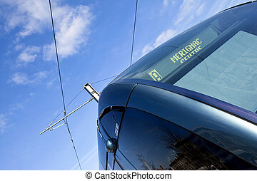 Streetcar - Detail of a streetcar in the city of Bordeaux,...