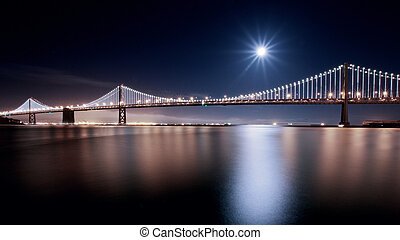 Supermoon over SF Bay Bridge - Supermoon event over SF Bay...