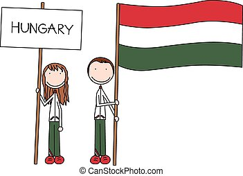Hungarian flag - Illustration of a girl and boy holding...