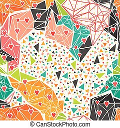 Heart with geometric polygonal ornament. - Heart with...