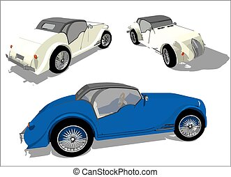 Old Timer, vector image - Vector image of a super car in...