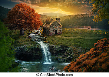Peaceful cottage - Beautiful nature scene with cottage in...