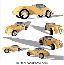 Old timer, vector images - Vector image of a super car in...