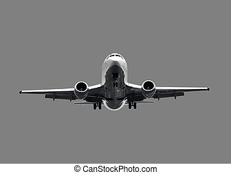 White jet airplane - isolated on grey