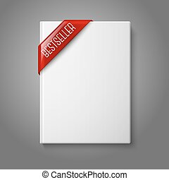Realistic white blank hardcover book, front view with red...