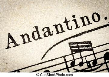 Andantino - slow music tempo - Andantino - slow, walking...