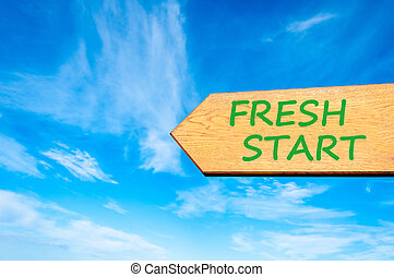 Arrow sign with Fresh Start message - Wood arrow sign...