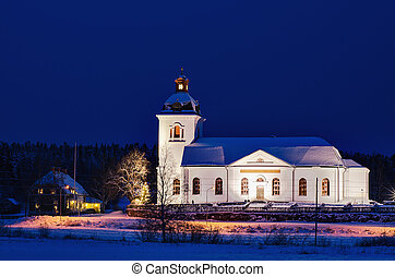 Night Sweden church - Swedish church building, illuminated...