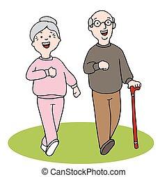 Senior Citizens Walking - An image of two seniors walking.