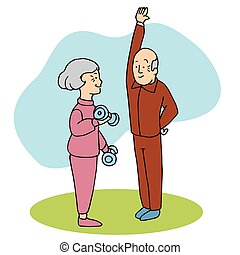 Seniors Working Out - An image of two seniors working out
