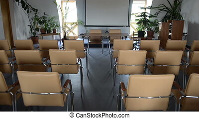 Empty classroom glidecam footage - Empty classroom with...