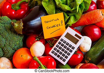 Counting calories, diet of vegetables and fruits background...