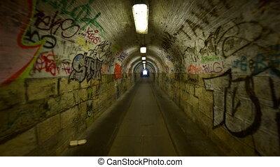 Urban underground tunnel with glidecam - Urban underground...