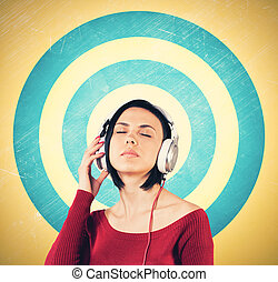 Girl with earphones - Beautiful girl with earphones listens...