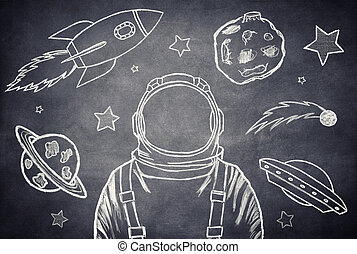 The cosmonaut - Empty suit astronaut on a background of...