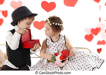 Lady like girl and gentleman boy sharing presents, valentine...