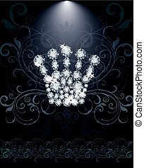 Diamond Queen crown VIP card, vector illustration