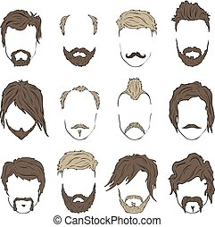 Illustrations hairstyles with a beard and mustache stylish...