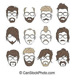 Illustrations hairstyles with a beard and mustache wearing...