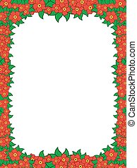Frame with red flowers around white background, hand drawing...