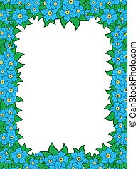 Frame with blue flowers around white background, hand...