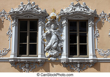casa, de, halcón, en, Wurzburg,