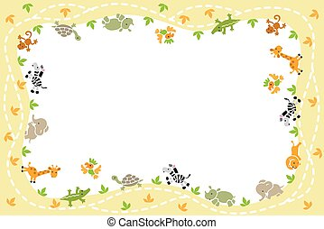 Card with funny animals - Card with background frame...