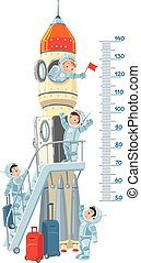 Meter wall with rocket and boys-astronauts - Meter wall or...