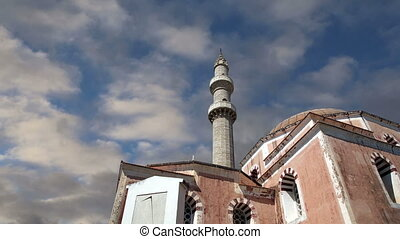 Mosque in Old Town, Rhodes, Greece time lapse
