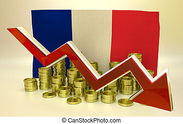 currency collapse - France economy - 3D finance graph -...